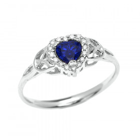 0.5ct Sapphire Elegant Heart Trinity Knot Halo Ring in 9ct White Gold