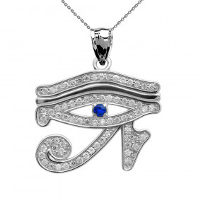 0.02ct Sapphire Eye of Horus Charm Pendant Necklace in 9ct White Gold
