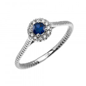 0.08ct Sapphire Halo Rope Promise Twisted Rope Ring in 9ct White Gold