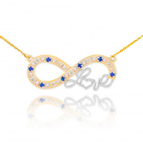 Sapphire Infinity Love Script Pendant Necklace in 9ct Two-Tone Gold
