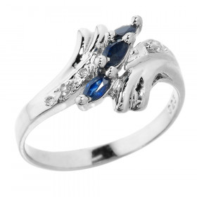 0.3ct Sapphire Ing Marquise Blue Ring in Sterling Silver