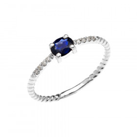 0.15ct Sapphire Oval Rope Design Promise Twisted Rope Ring in 9ct White Gold
