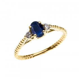 0.25ct Sapphire Rope Design Promise Twisted Rope Ring in 9ct Gold