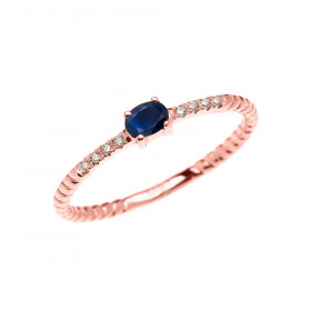 0.1ct Sapphire Rope Design Promise Twisted Rope Ring in 9ct Rose Gold
