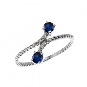 0.16ct Sapphire Rope Design Promise Twisted Rope Ring in 9ct White Gold