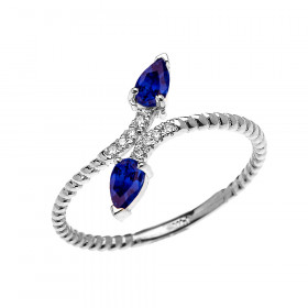 0.12ct Sapphire Rope Design Promise Twisted Rope Ring in 9ct White Gold