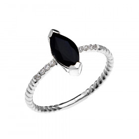 1.0ct Sapphire Rope Design Promise Twisted Rope Ring in 9ct White Gold