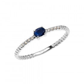 0.1ct Sapphire Rope Design Promise Twisted Rope Ring in 9ct White Gold