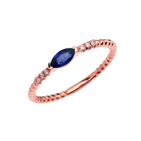 0.18ct Sapphire Stackable Beaded Twisted Rope Ring in 9ct Rose Gold