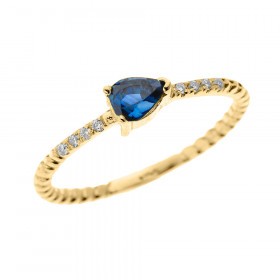 0.15ct Sapphire Stackable Pear Shape Rope Design Twisted Rope Ring in 9ct Gold