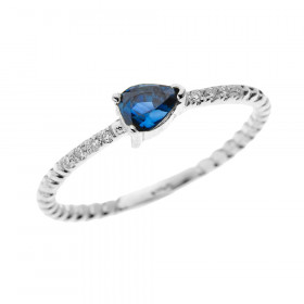 0.15ct Sapphire Stackable Pear Shape Rope Design Twisted Rope Ring in 9ct White Gold