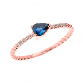 0.15ct Sapphire Stackable Rope Design Twisted Rope Ring in 9ct Rose Gold