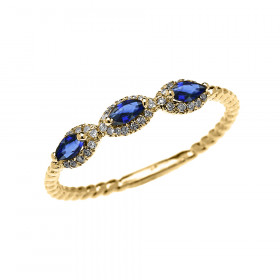 0.15ct Sapphire Three Stone Halo Rope Promise Ring in 9ct Gold