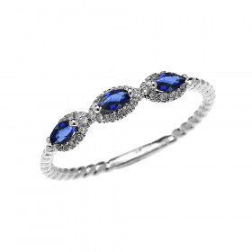 0.15ct Sapphire Three Stone Halo Rope Promise Ring in 9ct White Gold