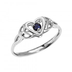 0.07ct Sapphire Trinity Knot Heart Ring in 9ct White Gold