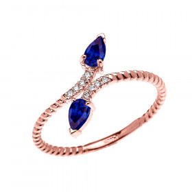 0.12ct Sapphire Two Stone Rope Design Promise Twisted Rope Ring in 9ct Rose Gold
