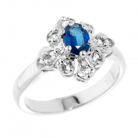 0.24ct Sapphire and White Topaz Ring in Sterling Silver