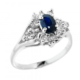 0.42ct Sapphire and White Topaz Ring in Sterling Silver