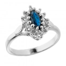 0.65ct Sapphire and White Topaz Ring in Sterling Silver