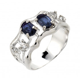 Sapphire and White Topaz Ring in 9ct White Gold