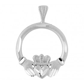 Satin Finish Claddagh Pendant Necklace in 9ct White Gold
