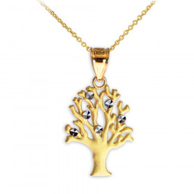 Satin Finish Tree of Life Charm Pendant Necklace in 9ct Two-Tone Gold