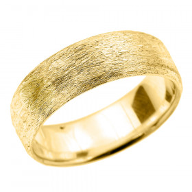 Satin Finished Unisex Decorative Wedding Ring in 9ct Gold