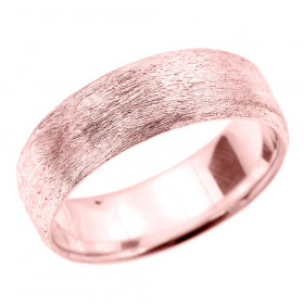 Satin Finished Unisex Decorative Wedding Ring in 9ct Rose Gold