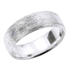 Satin Finished Unisex Decorative Wedding Ring in 9ct White Gold