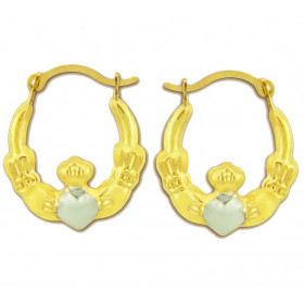 Satin Hoop Claddagh Earrings in 9ct Gold