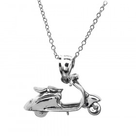 Scooter Charm Pendant Necklace in Sterling Silver