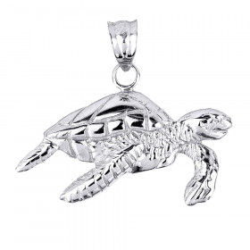 Sea Turtle Charm Pendant Necklace in 9ct White Gold
