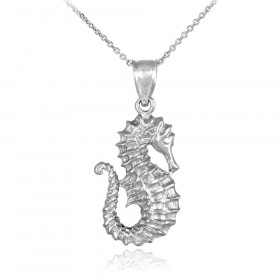 Seahorse Pendant Necklace in 9ct White Gold