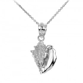 Seashell Charm Pendant Necklace in 9ct White Gold