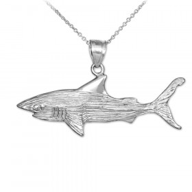 Shark Textured Pendant Necklace in 9ct White Gold