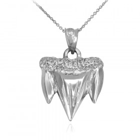 Shark Tooth Pendant Necklace in Sterling Silver