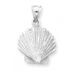 Shell Charm Pendant Necklace in 9ct White Gold