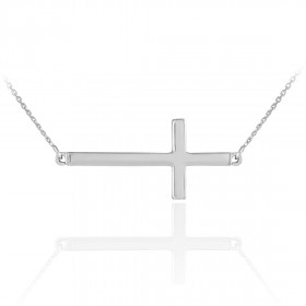 Sideways Cross Pendant Necklace in 9ct White Gold
