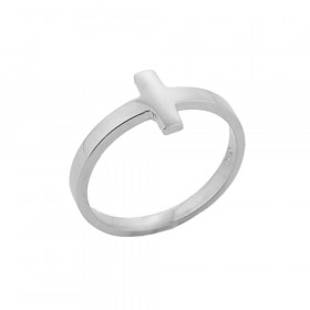 Sideways Knuckle Cross Ring in 9ct White Gold