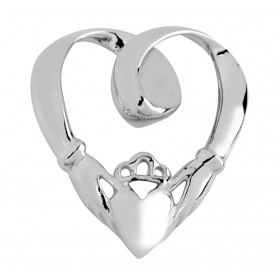 Slide Claddagh Pendant Necklace in 9ct White Gold