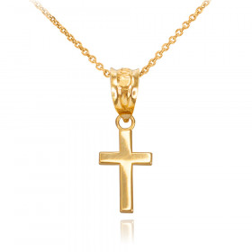 Smooth Mini Cross Pendant Necklace in 9ct Gold
