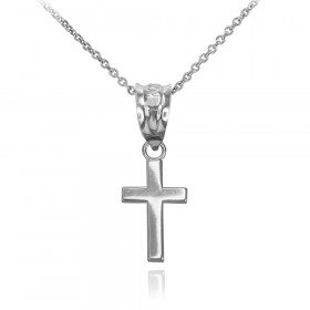 Smooth Mini Cross Pendant Necklace in 9ct White Gold