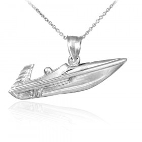 Speed Boat Charm Pendant Necklace in 9ct White Gold