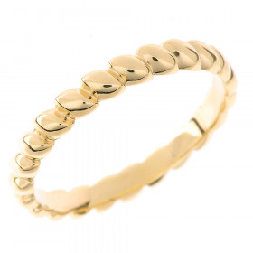 Stackable Rice Beaded Thumb Ring in 9ct Gold
