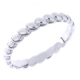 Stackable Rice Beaded Thumb Ring in 9ct White Gold