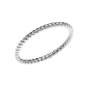 Stackable Rope Design Twisted Rope Ring in 9ct White Gold