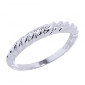 Stackable Twisted Rope Ring in 9ct White Gold