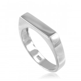 Stackable Unisex Signet Ring in 9ct White Gold