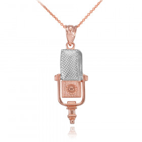 Studio Mic Pendant Necklace in 9ct Two-Tone Gold