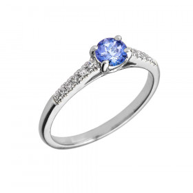 0.55ct Tanzanite and Diamond Engagement Ring in 9ct White Gold
